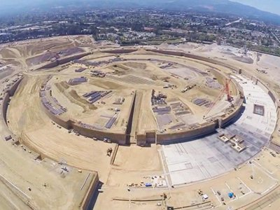 A flying drone above the new Apple Campus 2 building site