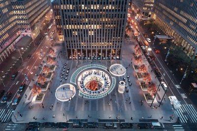 A circular cut-out in the Rockefeller Center Plaza