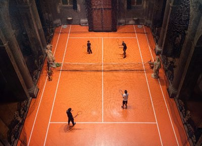 Playing tennis inside a 16th-century Milan church