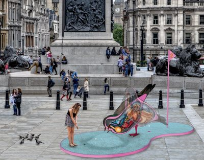 Trafalgar Square turned into a Crazy Golf Course