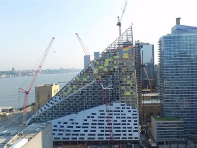 New Drone Footage Shows Progress at Bjarke  Ingels' First NYC Building