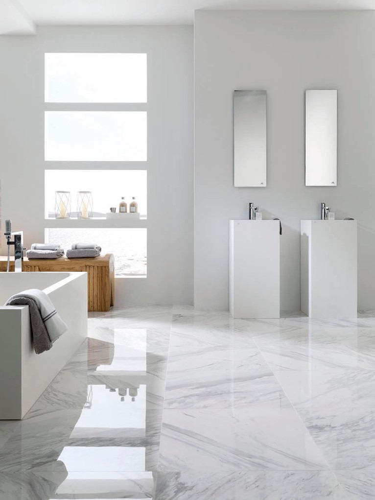 Polished Porcelain Tiles For Marble Inspired White Bathrooms